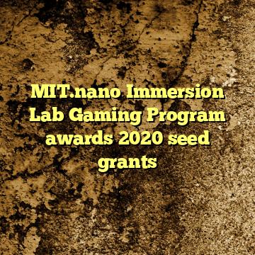 MIT.nano Immersion Lab Gaming Program awards 2020 seed grants